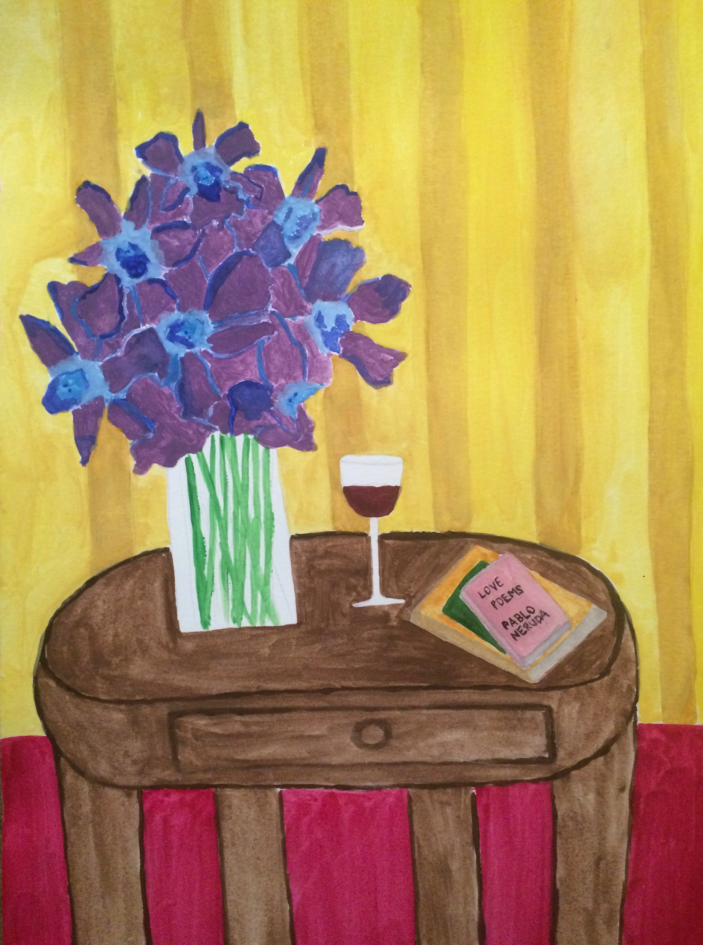 Table with Blue Orchids